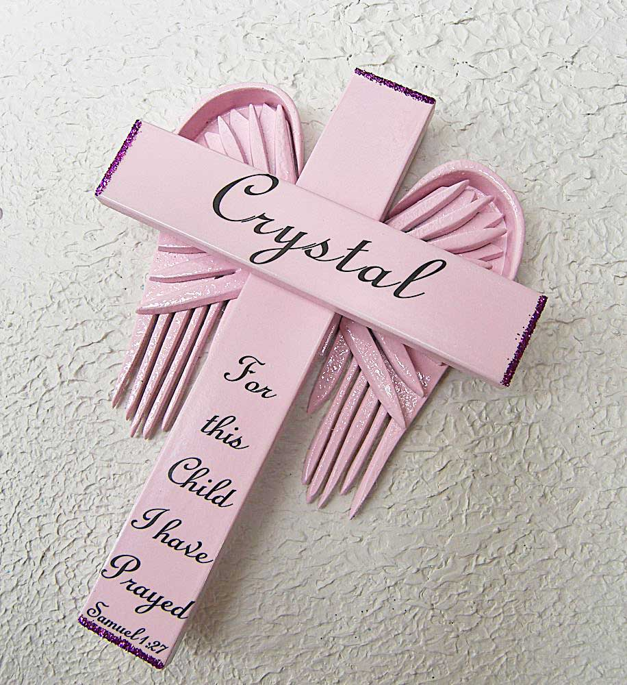 Personalized Angel of the Lord Cross in Pink – with Pink Wings