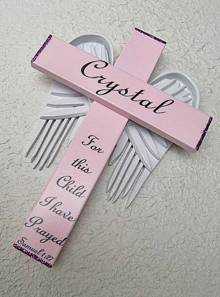 Personalized Angel of the Lord Cross in pink with white wings 'For this Child I have Prayed' Samuel 2:27