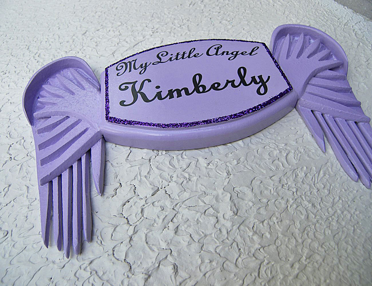 My Little Angel Wall Plaque in Violet – with Violet Angel Wings