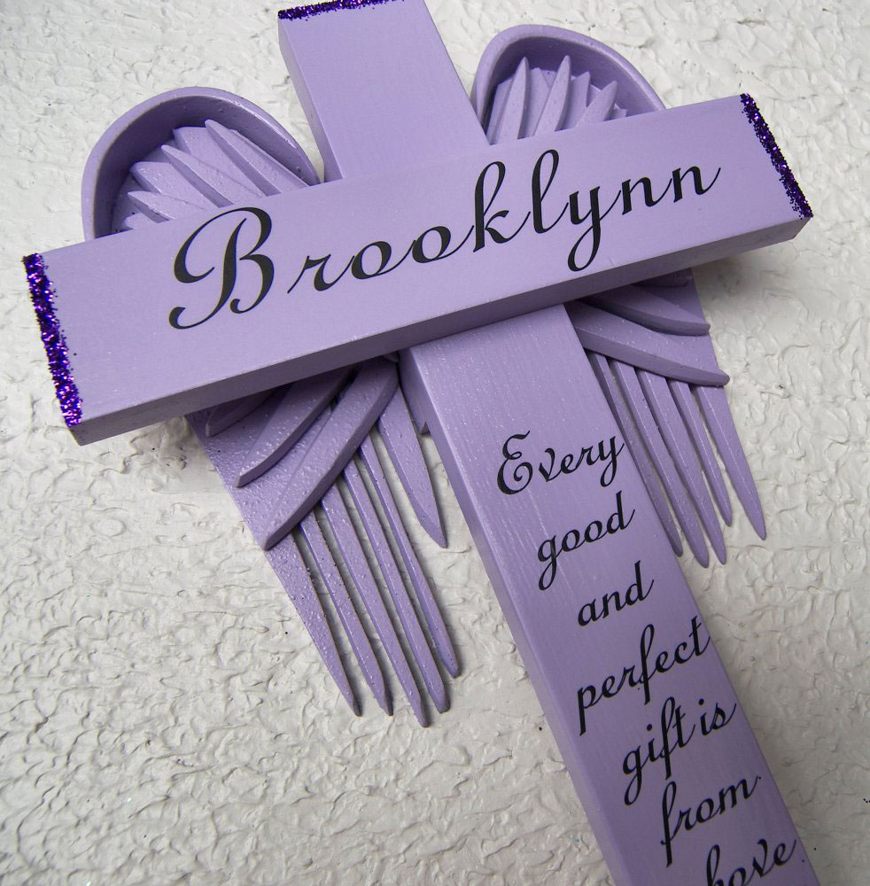 Angel of the Lord Cross in Violet– with Violet Wings